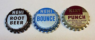 3 Vintage..cork..unused..Soda Bottle Caps..2 NEHI & 1 Kist