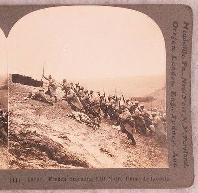 WWI Stereoview card:  French Storming Hill Notre Dame de Lorette