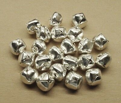 "SILVER Plated Jingle BELLS ~ 18mm (0.7"") ~ Bulk Metal Craft Holiday Christmas"