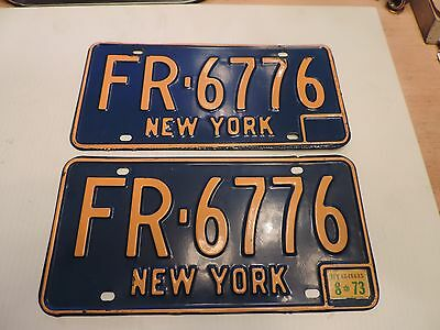 VINTAGE 1960's 1970's NEW YORK LICENSE PLATE - ORIGINAL MATCHING PAIR 6776