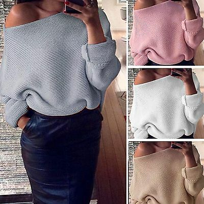 341410cb92a466 Womens Ladies One Shoulder Chunky Knit Knitted Oversize Baggy Sweater  Jumper Top