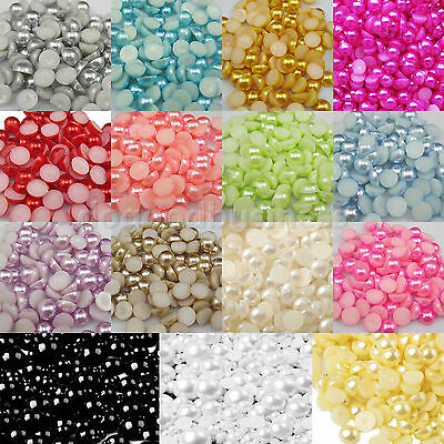 2000 Half Round Bead Flat Back Acrylic Pearl Scrapbooking Embellishment 5-12mm