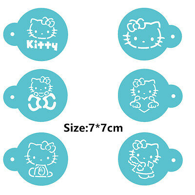 6 Pcs Packed Cat Cartoon Cookie Cake Stencil Decorate Mould Fondant Biscuit Tool