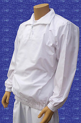 CATHEDRAL Polyester Cotton Teflon Coated Showerproof 1/2 Zip White Top Medium
