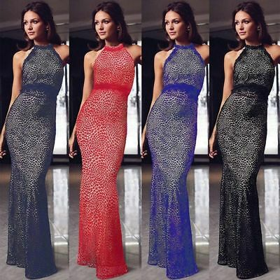 UK Womens Lace Long Tunic Dress Prom Evening Party Cocktail Bridesmaid Ball Gown