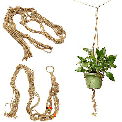 Durable Garden Home Macrame Plant Hanger Flowerpot Holder Gardenpot Lifting Rope