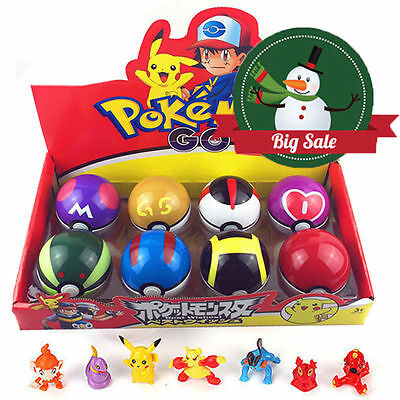 8 Pcs Pokemon Ball + 8pcs Figure Random Cosplay Pop-up BALL 7cm Cartoon Toy Kid