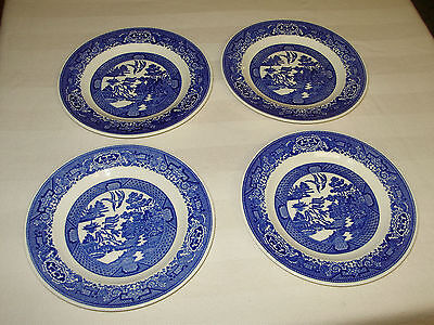 4,vintage Royal China Willow Ware Blue & White Dinner Plates/9 1/4""