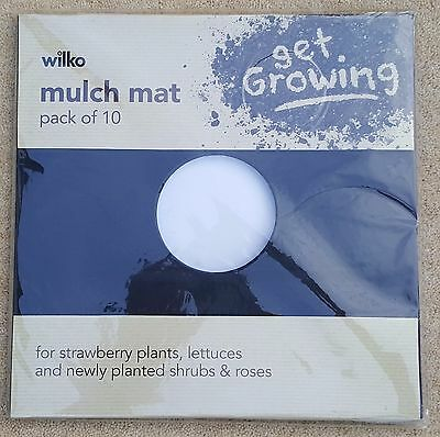 WILKO Get Growing Mulch Mat Pack Of 10 Square 25 cm Strawberry Plants Lettuces