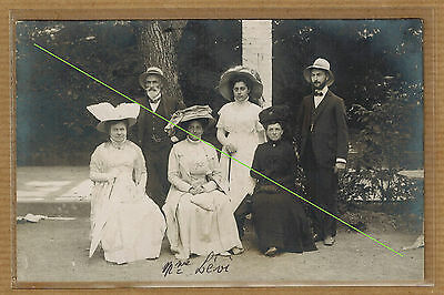 Carte Photo vintage card RPPC judaica type famille juive et Mme Lévi kh0375