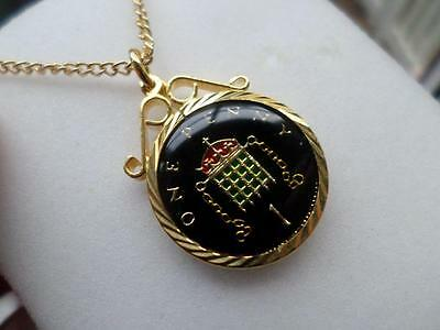 Vintage Enamelled Penny Coin 1999 Pendant & Necklace. 18Th Birthday Present
