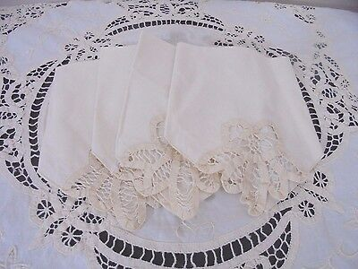 Vintage Ivory Battenburg Lace Round Tea Tablecloth + 4 Napkins Romantic Cottage