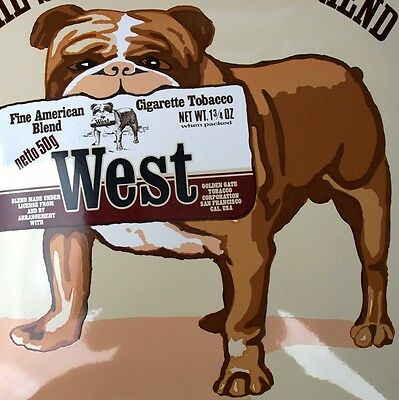 WEST Zigaretten Altes Emailschild San Francisco um 1980 TOP + RAR Hund Bulldogge