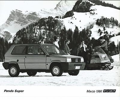 Fiat Panda Super with Snowmobile Snow Mountain Scene Press Photograph Skidoo