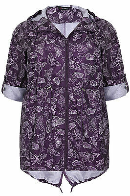 Plus Size Womens Butterfly Print Shower Resistant Pocket Parka Jacket With Hood