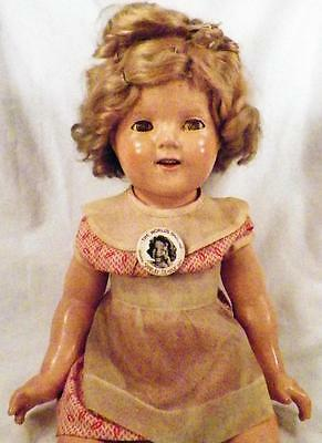 Shirley Temple Composition Doll Ideal 19 in Original Dress Pin Shoes Vintage