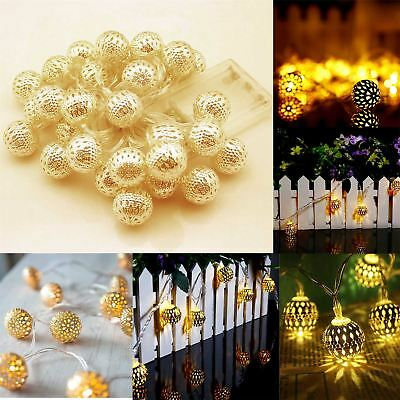 4.3m Battery Operated 20 Gold Warm White Moroccan Balls Warm White LED Lights
