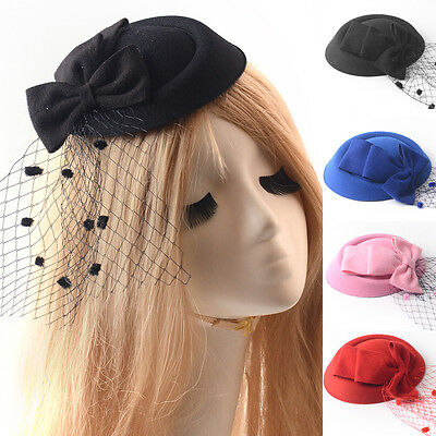 women hair accessory clips pillbox hat veil fascinators bowknot party wedding