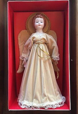 """Vintage Sears Christmas Tree Top Angel With Box 10"""" Tall ~ Collectible Porcelain"""