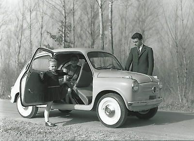 Fiat 600 Original Black and White Press Photograph Car with Family