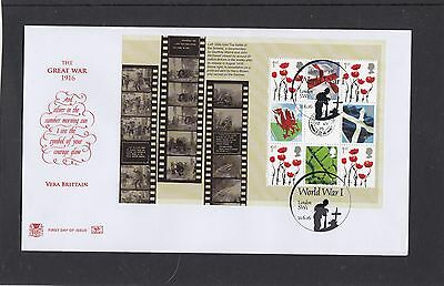 GB 2016  The Great War PSB Prestige Stamp Booklet definitive pane Somme FDC SW1