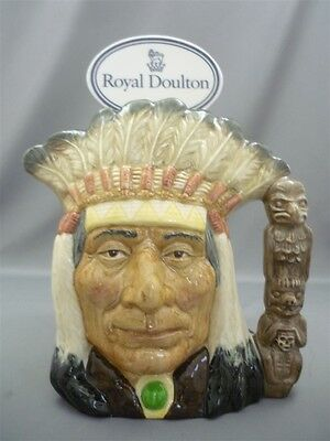 """North America Indian"" Royal Doulton England Large Character Toby Jug D6611 OLD"