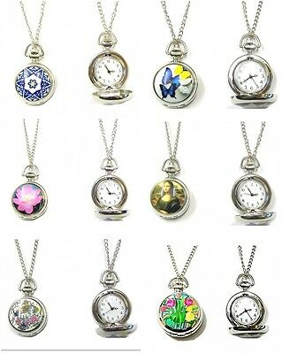 Ladies Silver Pocket Watch Necklace Pendant Vintage Steampunk Butterfly Flower