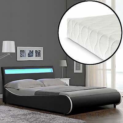 CORIUM LED Modern Upholstered Bed Mattress 140x200cm imitation leather Black Bed