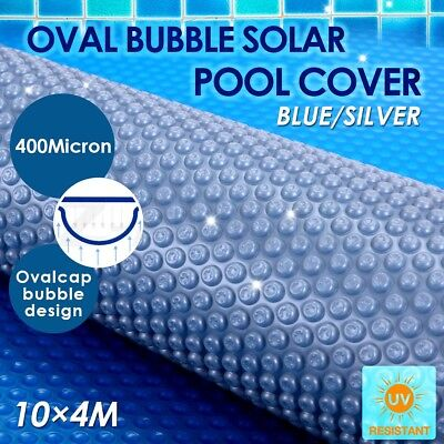 400 Micron Solar Swimming Pool Cover Oval Bubble Blanket 10M x 4M Outdoor