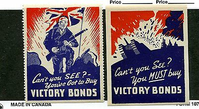 Vintage Poster Stamp Label pair  WW2 England Great Britain  BUY VICTORY BONDS