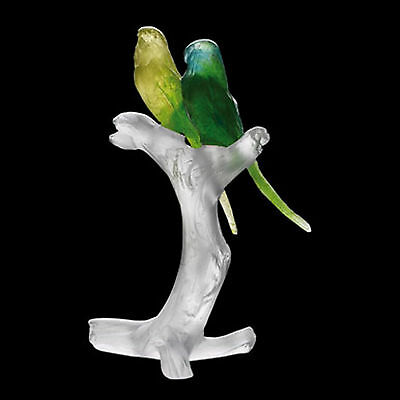 Daum Crystal Pate De Verre Parakeets Budgerigars Budgies Perruches on Branch New