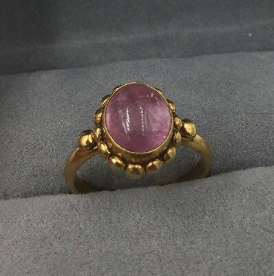 Vintage Antique Chinese Pink Tourmaline Gilt Silver Ring size 6 1/4