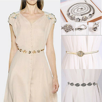 Women's Ladies Fashion Metal Pearl Waist Belt Modern Dress Chain Belt Jewelery