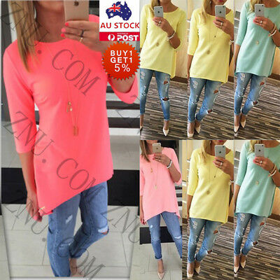 Womens Loose Pullover T Shirt 3/4 Sleeve Cotton Tops Shirt Casual Autumn Blouse