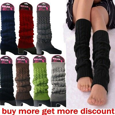 Hot Women Lady Winter Warm Leg Warmers Cable Knit Knitted Crochet Socks Leggings