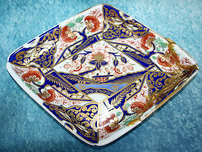 Antique Victorian Crown Derby Old Imari Diamond Shape Dish -Signed 1863-66