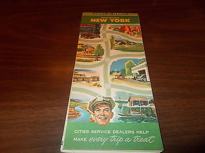 1945 Cities Service Metropolitan New York Vintage Road Map