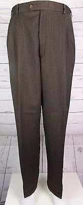Vtg Brown Pleated Wool Blend Turn Up Trousers 80s does 40s / 50s  W33 L32 DM12