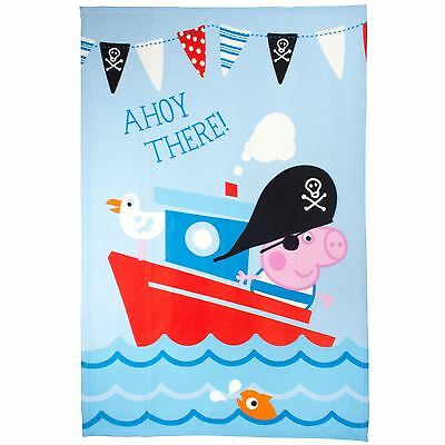 Peppa Pig George Pirate Blue Kids Fleece Blanket 100Cm X 150Cm Official New