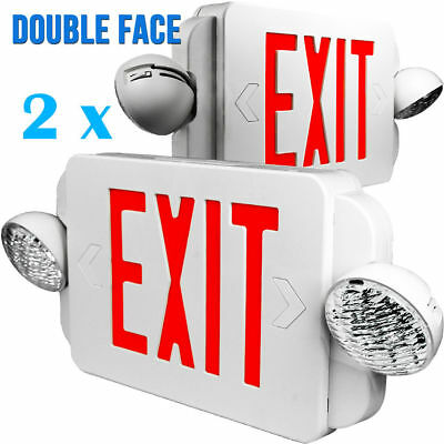 2x LED Exit Sign & Emergency Light – High Output - RED Compact Combo UL EL2BR