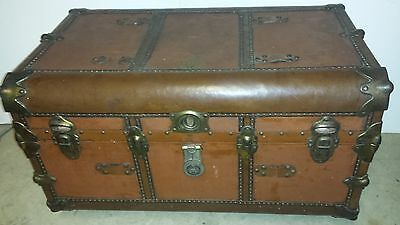 Original vintage Goldsmith & Sons Steamer Trunk antique coffee table / chest