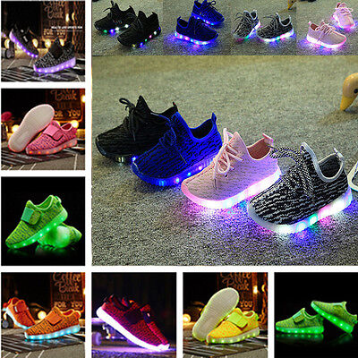 Hot Kids Boys Girls LED Shoes Light Up Lace Up Luminous Trainers Casual Sneakers