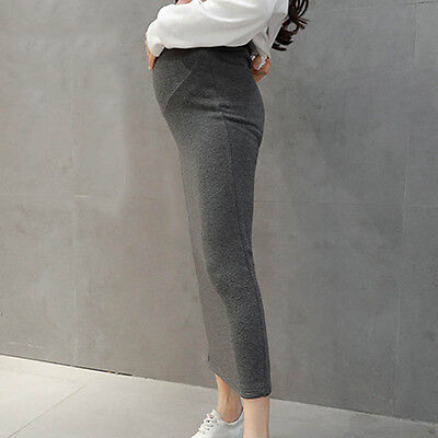 Pregnant Women Pencil Skirt Plush Lined Long Skirts Adjustable Maternity Clothes
