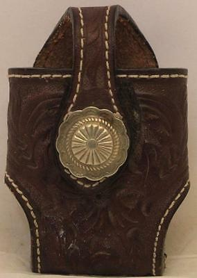Western Cowboy Decor Tooled Brown Leather Pouch Cell Phone Holder Pager Belt