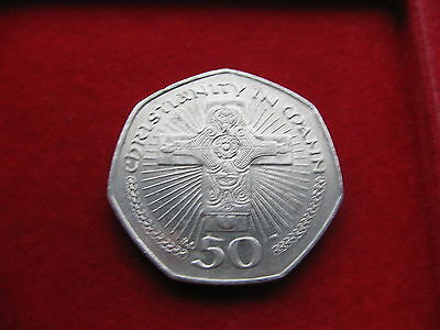 ***SCARCE 2003 ISLE of MAN MANX 50P - CHRISTIANITY IN MANN CHRIST CRUCIFIXION*L8