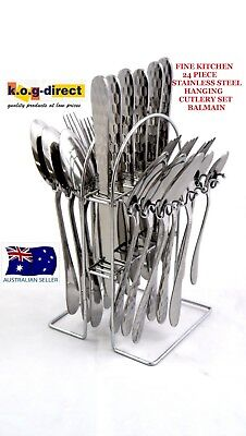 FINE KITCHEN 24 Piece Stainless Steel Hanging Cutlery Set BALMAIN NEW HW51
