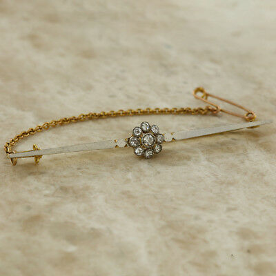 Secondhand 18Ct Yellow Gold Platinum Front Diamond Flower Cluster Bar Brooch.