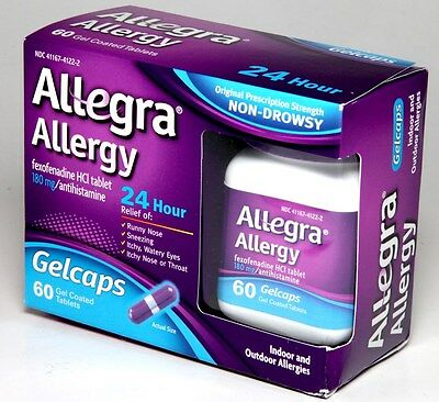 Allegra 24HR Allergy Relief 60 Gelcaps Gel Coated Tablets 180mg Fexofenadine HCL