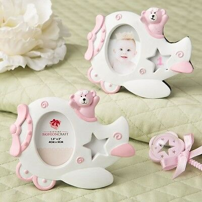 30 Adorable Pink Airplane Teddy Bear Photo Frame Baby Girl Shower Favors