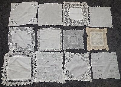 12 Vintage Handkerchiefs Lot Crochet Embroidery Cotton Gossamer Lace Wedding